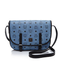 MCM Small Color Visetos Flap Messenger In Washed Blue