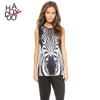 Printed Split Front Hollow Out Slimming V-neck Zebra Lace Sleeveless Top T-shirt - Bonny YZOZO Boutique Store