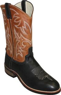 "Abilene 11"" Black Lamb and Tan Cowhide Round Roper Toe Item A6847 $173.99"