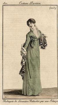 pelisse in green, Costume parisien, 1810