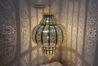 Moroccan Curvy Brass Lampshade Lamp, Big Copper Chandelier, Marrakesh Lantern, Ceiling Lighting - Shadow Lamp, Hanging Pendant Light shade $295.00