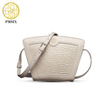 Pmsix2016 Summer New Fashion Embossed Women Genuine Leather Bag Top Layer Cowhide Geometric Pattern Mini Shoulder Crossbody Bag $67.86