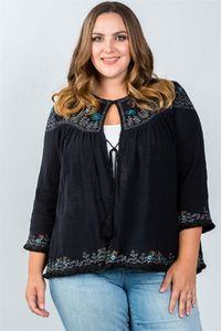 LL Plus Size Embroidered Flower Cardigan w/ Tassel $43.99
