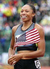 Allyson Felix Team USA's Allyson Felix is the only woman to be a three-time Athletics World Championship gold medalist. She was nicknamed �€œChicken Legs�€ in high school, but her now perfectly built muscular body is far from that.