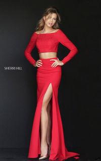 Sherri Hill 50209 Red Beaded Neoprene Long Sleeve Prom Dress