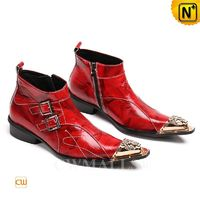 Men Leather Shoes | CWMALLS® Leather Monk Strap Boots CW708006 [Patented Design, Custom Made]