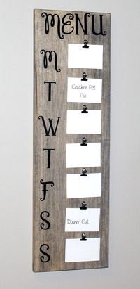 Barnwood Rustic Menu Board (31 Tall, holds 3.5 x 5 cards) Great Weekly Menu Planner for the busy mom! This menu board is a fun, easy way to get organized and involve the family with meal planning while adding a touch of rustic chic decor to your k...