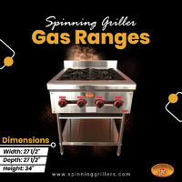 Spinning Grillers commercial gas ranges can easily be linked to your gas supply, allowing you to perform many cooking tasks easily and each burner puts out an impressive 26,000 BTU. This four-burner countertop range has a durable stainless steel exterior ...