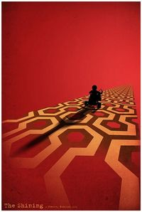 The Shining Minimalist poster by DirtyGreatPixels. Oh that infamous & unnerving 70's Overlook Hotel carpet!