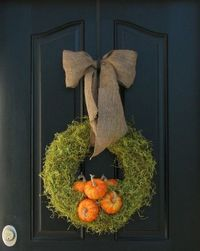 Fall wreath - wrap form with sheet moss, hot glue miniature pumpkins to lower center; add burlap hanger and bow!