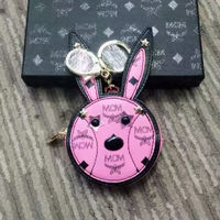 MCM Rabbit Vistos Leather Key Holder In Pink