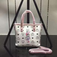 MCM Mini Rabbit Visetos Shoulder Tote In White