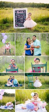 First birthday outdoor cake smash, first birthday baby stages photo session for a baby girl. Sunny S-H Photography: