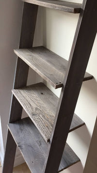 Ladder Shelf: 4 or 5 shelves with space for Laundry Hamper Distressed in Barnwood Rustic Wood Farmhouse Ladder Shelf £279.00