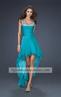 La Femme 17141 Blue Spaghetti Strap Formal Peacock High Low Dresses Hot Sale