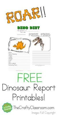 Dinosaur Report Printables from The Crafty Classroom