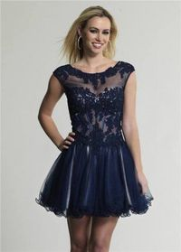 Short Navy Lace Corset Homecoming Dresses 2014