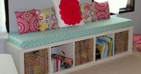 shelf turned on it's SIDE�€�. add long foam cover pad and add pillows & voila you have a window seat