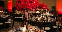 Stunning red centerpiece for 1920s inspired wedding in Los Angeles at Majestic Halls, photos by Callaway Gable | via junebugweddings.com