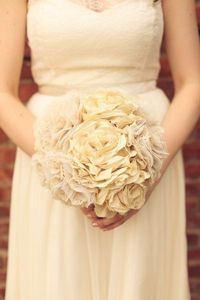 fabric flower bouquet (gorgeous!) on