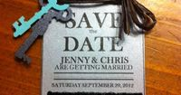 Mason Jar save the dates - would be very cute if we go with those center pieces