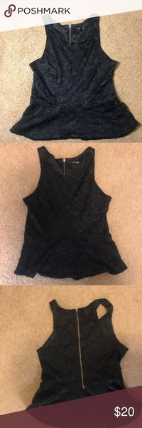 Express -Black Lace Peplum Top Great for a date night or a night out on the town! A sleeveless laced peplum top with a gold zipper in the back. Size Medium In great condition! Express Tops Blouses