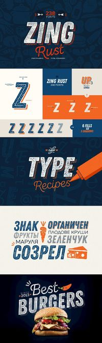 """Zing Rust - Zing Rust�""""� is a truly handmade type system consisted of 238 fonts. This incredible font family is based on layer combinations and gives endless possibilities to mix and make various designs. The bundle consists two subfamilies - the mai..."""
