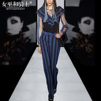 Vogue Frilled Slimming Tulle Stripped Spring Twinset Top Long Trouser - Bonny YZOZO Boutique Store