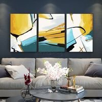 Abstract painting Yellow acrylic painting on canvas huge size original painting 3 pieces Wall Art hand painted Home Decor cuadros abstractos $163.53