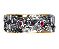 2 Tone Band Ring, Ruby Diamond Band, Flower Band Ring, Floral Ruby Eternity Band, Floral Engraved Ring, Floral Jewellery, Floral Ring Band $999.00