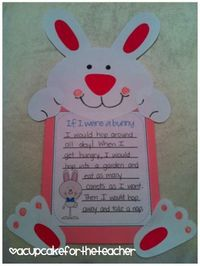 bunny craft for spring and/or Easter - Just so stinkin' cute! Leave lines open for child to fill out..
