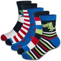Boys Socks Toddlers Little Boys Seamless Cute Colorful Multi Stripes Ultra Soft Cotton Fashion Crew socks 5 Pairs Pack $11.99