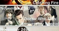 Catching Fire, the Doctor Who 50th anniversary special and Sherlock season 3 all premiere within three days this November! BEST. WEEKEND. EVER.