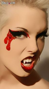 Bloodlust Eye Kit - The bloodlust eye kit includes black and red glitter eye appliques with dripping blood look, red glitter, applique brush and lashes. Teeth not included. Reusable and waterproof.