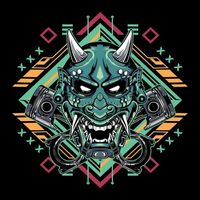 Japanese devil mask hannya with piston emblem | Premium Vector.