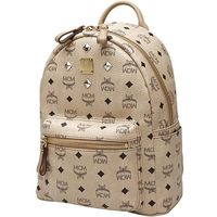 MCM Small Stark Four Studded Backpack In Beige