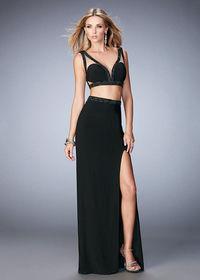 Modern Super Edgy Beaded Strappy Two Piece Black Evening Gown With Leg Slit