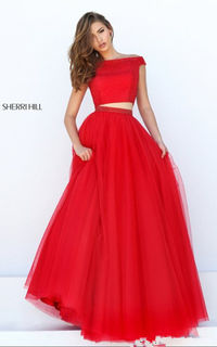24c913a2616 50315 Red A Line Two Piece Tulle Layered Sherri Hill Cheap Dress For Prom