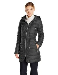 Kenneth Cole Women's Packable Down Coat with Cinch Waist