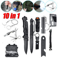 10 IN 1 SOS Survival Emergency Multi Tool Box Kit EDC Tools For Camping Travel Hiking Adventurer