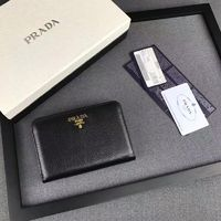 Prada 1M1225 Lettering Logo Calfskin Leather Wallet In Black