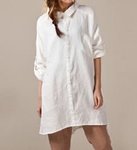 Linen asymmetric large size long shirt
