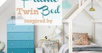 Build a unique kids bed in the shape of a house frame. Free DIY House Frame twin bed building plans and tutorial.