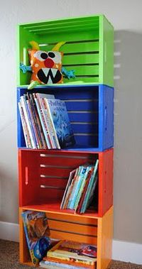 DIY Bookshelf made from crates you can get at craft store.