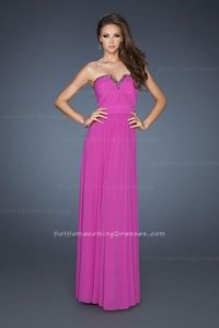 La Femme 18197 V-Neck Magenta Open Back Long Strapless Prom Dresses