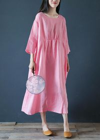Trendy plus size clothing, Pink linen half sleeve dress, Flare Dress, cocktail Dress, Party dress, Maxi dress, Women Dress, Summer dress