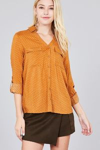 20% discount with BESTDEAL at checkout! 3/4 Roll Up Sleeve Front Patch Pocket Ot Print Rayon Challis Woven Shirt $21.00