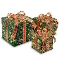 National Tree Set of 3 Assorted Green Sisal Gift Boxes with Clear Lights (MZGB-ASST-3L-1) $35.50