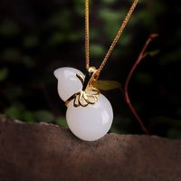 Hetian jade gourd necklace - 18k gold inlaid necklace - necklace pendant- love necklace- gourd pendant - friendship jewelry