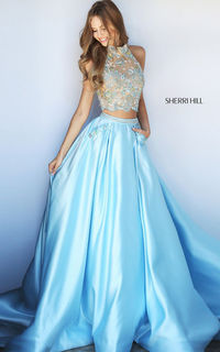 Halter Light Blue Sherri Hill 51041 Two Piece Long Prom Dress